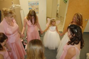 Kay leading us in prayer before my wedding...