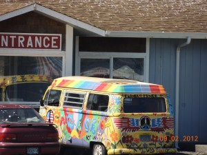 This random psychedelic  bus I saw parked at the beach last summer. I was enamored that someone DROVE this! AWESOME!